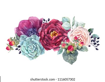 Watercolor illustration of a bouquet, flowers of dark anemone, red peony, white rose, succulent, black berries, berries hypericum. Flower watercolor bouquet, greeting flower card. Wedding Autumn Invit