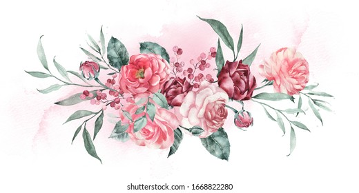 Watercolor illustration of a bouquet of garden flowers. Wedding invitation.