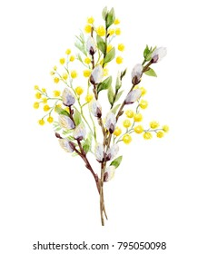 Watercolor illustration of a bouquet of Mimosa and willow branches, greeting Easter card
