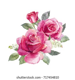 Watercolor illustration of a bouquet of a pink rose, snowflake branch.  greeting flower card
