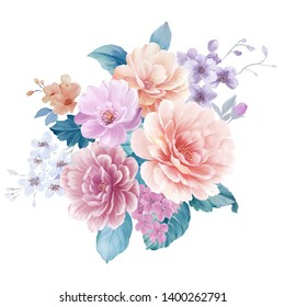 Watercolor illustration of a bouquet with a purple and delicate pink rose, leaves and bud, greeting card