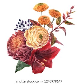 Watercolor illustration, a bouquet of red flower amaryllis, chrysanthemum and leaves, ranunculus