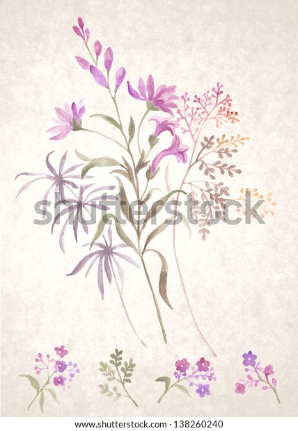 watercolor illustration  Bouquet  in simple background