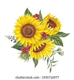 Watercolor illustration with a bouquet of sunflowers and red berries on a white background.