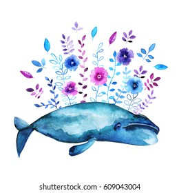 Watercolor illustration with Bow head whale and floral elements.