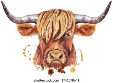 Watercolor illustration of a brown long-horned bull