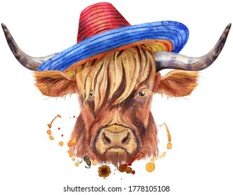 Watercolor illustration of a brown long-horned bull bull in a sombrero hat