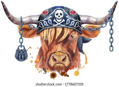 Watercolor illustration of a brown long-horned bull in biker bandana and chains