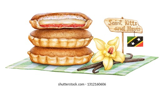 Watercolor illustration of the cake Agony of Love. Traditional pastry of Saint Kitts and Nevis Torment d'amour with flag on white background.
