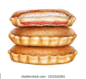 Watercolor illustration of the cake Agony of Love. Traditional pastry of Saint Kitts and Nevis Torment d'amour on white background