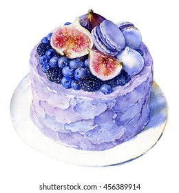 Watercolor illustration of cake with berries and a fig.