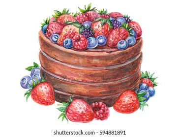 Watercolor illustration of cake with berries.Birthday cake