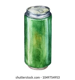 Watercolor illustration. Can of beer.