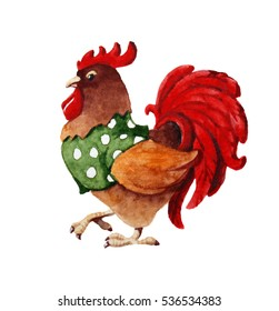 watercolor illustration with cartoon rooster