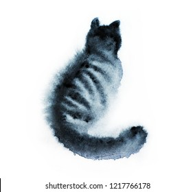 Watercolor illustration of a cat