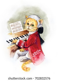 Watercolor illustration. Cat Mozart. Portrait