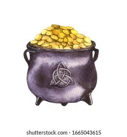 Watercolor illustration of a cauldron full of golden coins. The treasure of leprechaun.