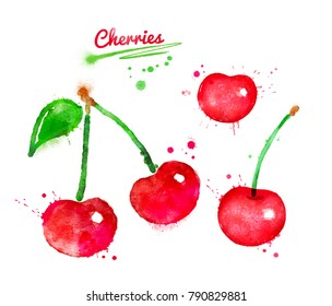 Watercolor illustration of cherries with paint splashes.