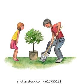 Watercolor illustration of children in the garden