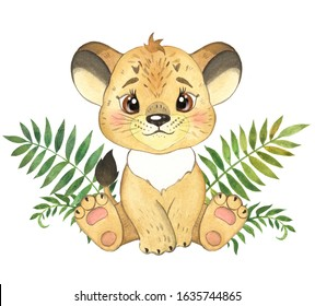 Watercolor illustration for children with a lion cub in the jungle.  little lion cub, cute lion cub, nursery, lion cub in the jungle, jungle, African animal, baby cards,  baby animal, baby shower