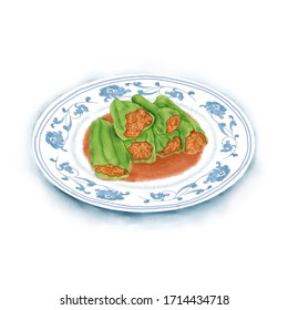 Watercolor Illustration of Chinese Cuisine - Green Pepper Stuffed with Minced Meat | 青椒塞肉