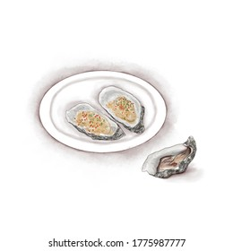 Watercolor Illustration of Chinese Cuisine - Grilled or steamed oysters with minced garlic on the plate | 蒜蓉生蚝