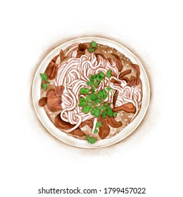 Watercolor Illustration of Chinese Cuisine - Guangxi Yulin Beef Offal Rice Noodle | 玉林牛杂粉