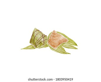 Watercolor Illustration of Chinese Traditional Food Zongzi - rice dumplings served on The Duanwu Festival, also known as the Dragon Boat Festival | 粽子