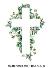 watercolor illustration.  Christian cross of green leaves, succulents, flowers for Easter, cards, invitations, baptism