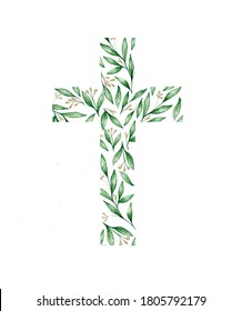 watercolor illustration.  Christian cross of green leaves  for Easter, cards, invitations, baptism
