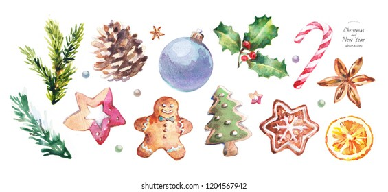 watercolor illustration of Christmas and New Year decorations, drawings: ball, pinecone, gingerbread, sweets, biscuit, gingerbread man, Christmas tree, snowflake, anise, holly, candy cane, orange