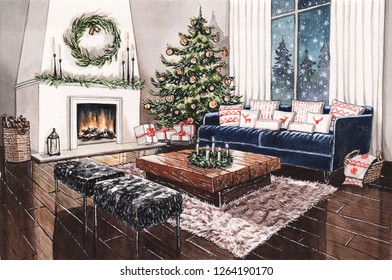 Watercolor illustration of Christmas night in living room with fireplace, christmas tree and decor, blue sofa, wooden coffee table and floor, wool carpet, window and snow.