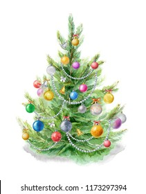Watercolor illustration: Christmas tree decorated with balls. Template for the design of posters, cards, invitations