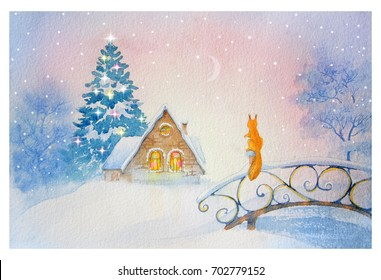 Watercolor illustration of Christmas winter day, background, postcard, header, congratulation, Happy New Year 2018. winter landscape.  Greeting card. house in winter forest and Christmas tree.