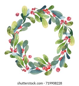 Watercolor illustration. Christmas wreath of green buxus branch, leaves and red berry
