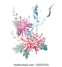 Watercolor illustration of chrysanthemum flowers and a crane, Asian motif