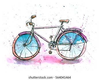 Watercolor illustration of classic bicycle. Stylish sketch with paint blot background