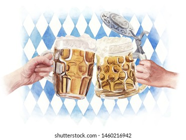 Watercolor illustration clink beer glasses with hand on Bavarian traditional blue and white background. Full beer mug with foam. Oktoberfest poster template design. Food and drink background concept.