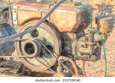 watercolor illustration: Close-up view of a motor for a pump for pumping water in Sudan, Africa