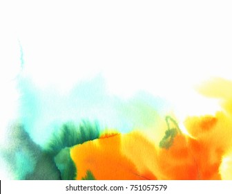 Watercolor illustration. Colored abstract background in orange colors with white copy space.