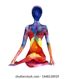 Watercolor illustration with colorful aura body, great design for any purposes. Healing and spiritual energy. Yoga watercolor silhouette.