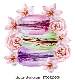 Watercolor illustration with colorful macarons.