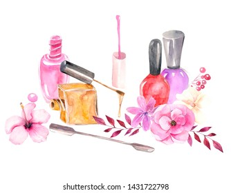 Watercolor illustration. The composition of bottles of nail polishes, flora and manicure tools. Digital drawing is suitable for beauty salons, logos, banners, etc.