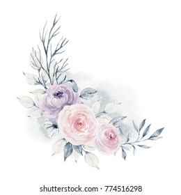 Watercolor illustration. Composition of flowers in gentle pastel colors. Bouquet. Element for design