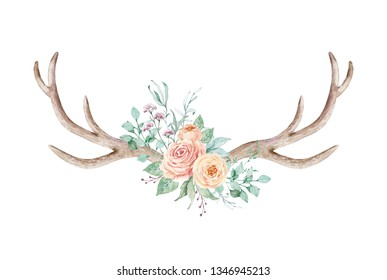 Watercolor illustration. Composition of flowers and horns in gentle pastel colors. Element for design. Bohemian, boho chic style