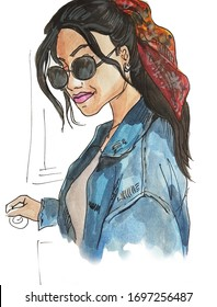 Watercolor illustration of cool girl
