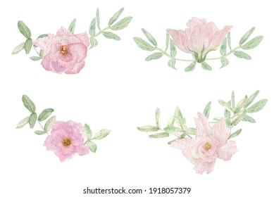 Watercolor illustration corners of pastel pink flowers and green leaves drawn by hand in a botanical way on a white background. Flower composition for wedding, birthday cards, decoration and desing.