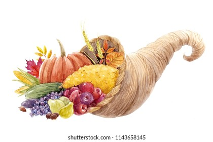 Watercolor illustration of cornucopia, symbol of Thanksgiving, autumn print, pumpkin, corn, leaves of trees, zucchini, grapes and apples. horn of plenty