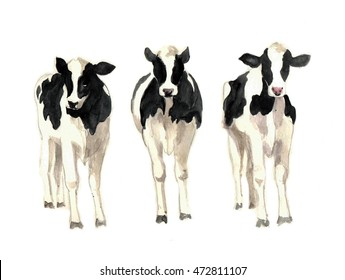 Watercolor illustration of a cows sketch. Tee shirt graphic. Watercolor farm Animal silhouette sketch. Wildlife art illustration.Watercolor graphic for fabric,postcard,greeting card,book