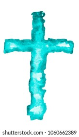 Watercolor illustration of cross in a turquoise color, isolated on a white background. Holy Rood.